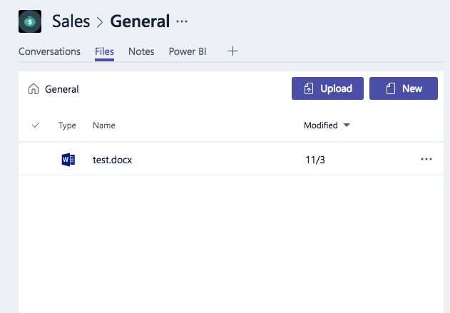 Microsoft Teams Viewing A File
