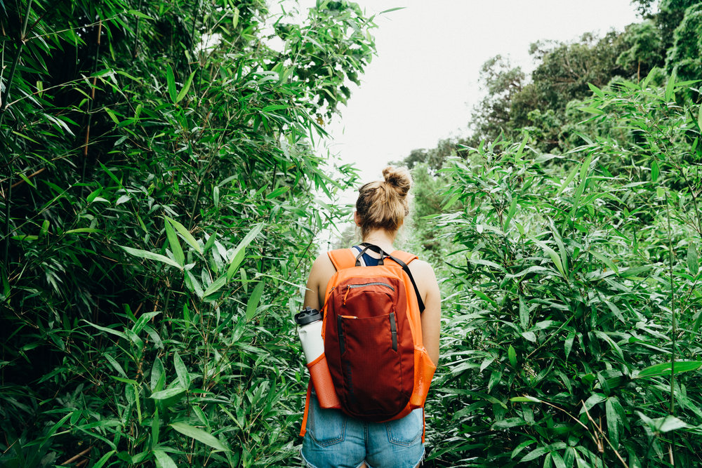 Girl Hiking in Jungle