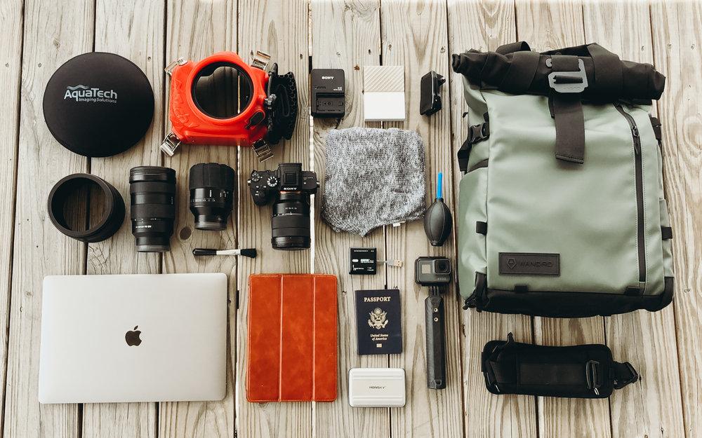 Travel Photography Camera Equipment Flat Lay