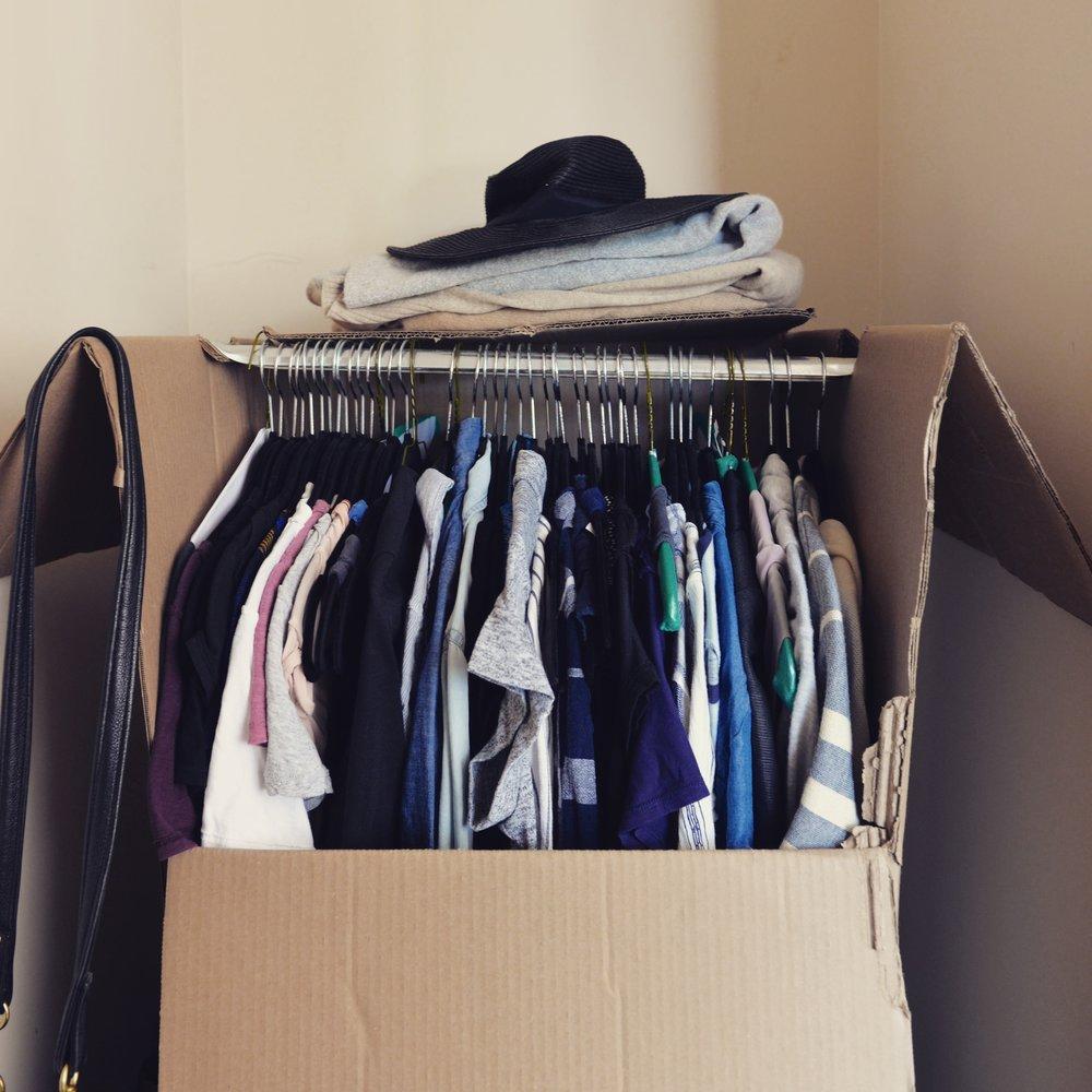 Wardrobe boxes = makeshift closets