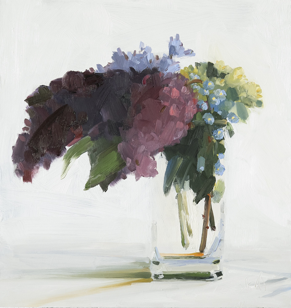 """Lilacs, Forget Me Nots, Primrose and Buttons"" by Amy Brnger"