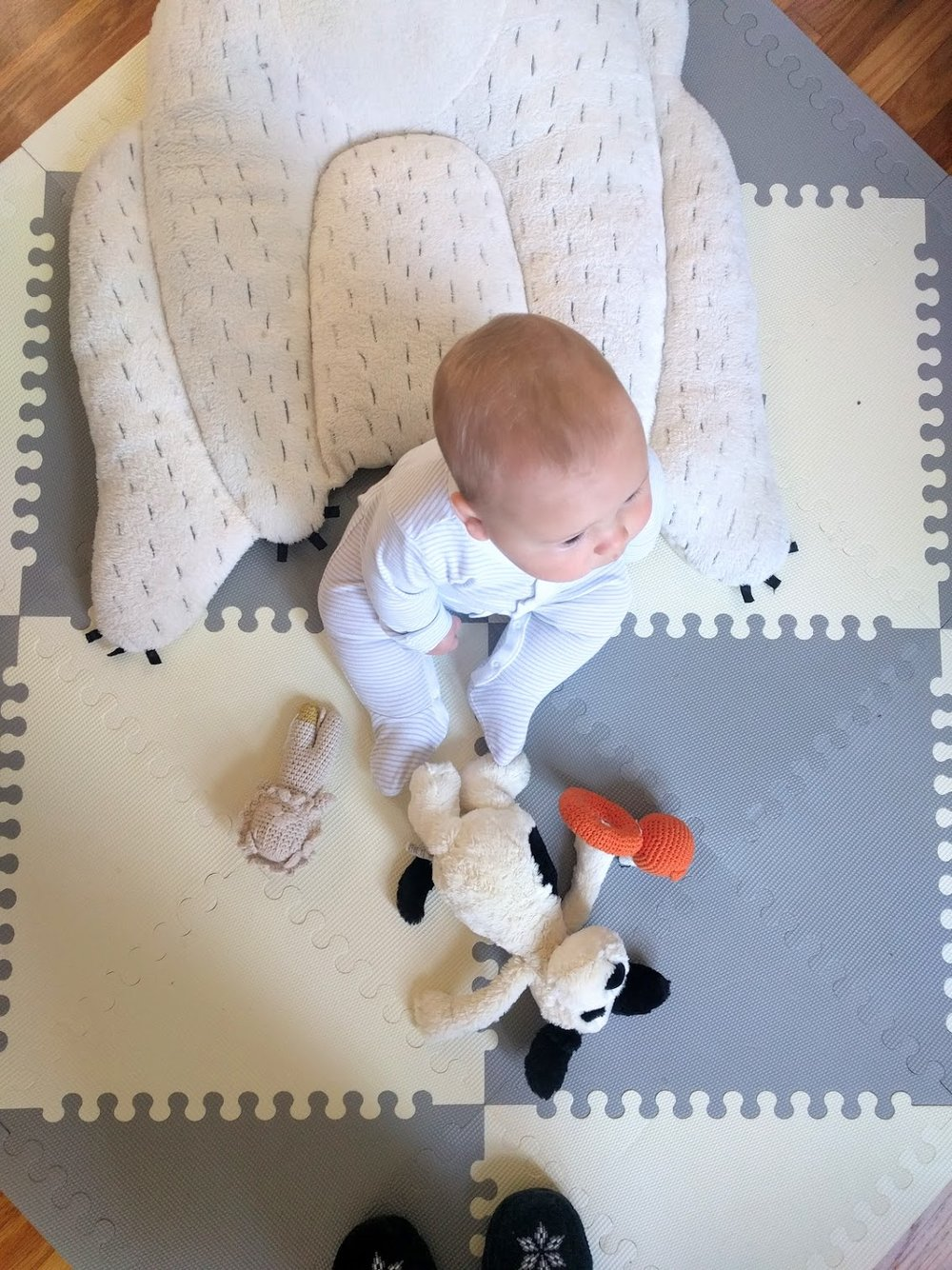 The gray and white plastic play mat -- good for drooling & falling on.