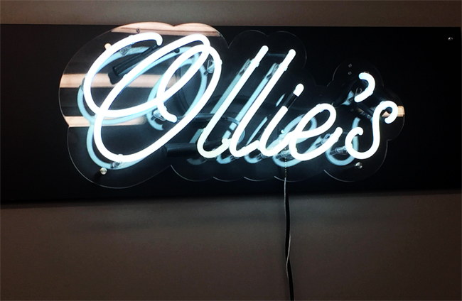 White Neon Sign with Clear Plexi Backing
