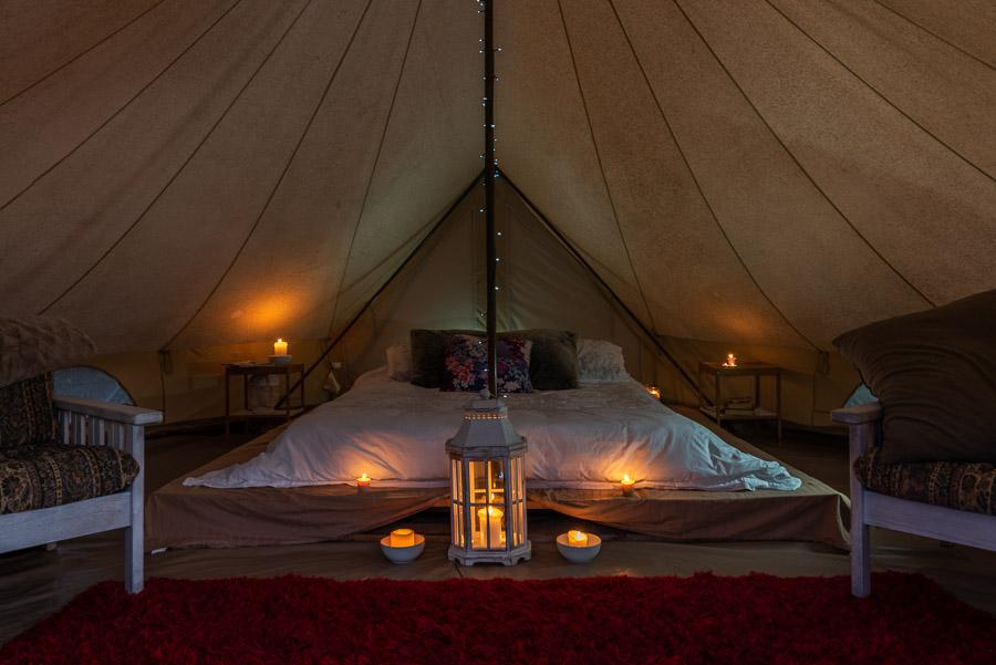 The Tent House - Gulaga: Interior at night.