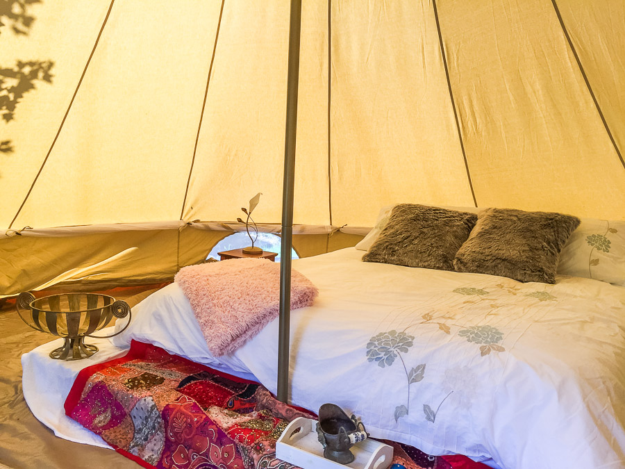 The Tent House - Najanuga: Interior and queen size bed.