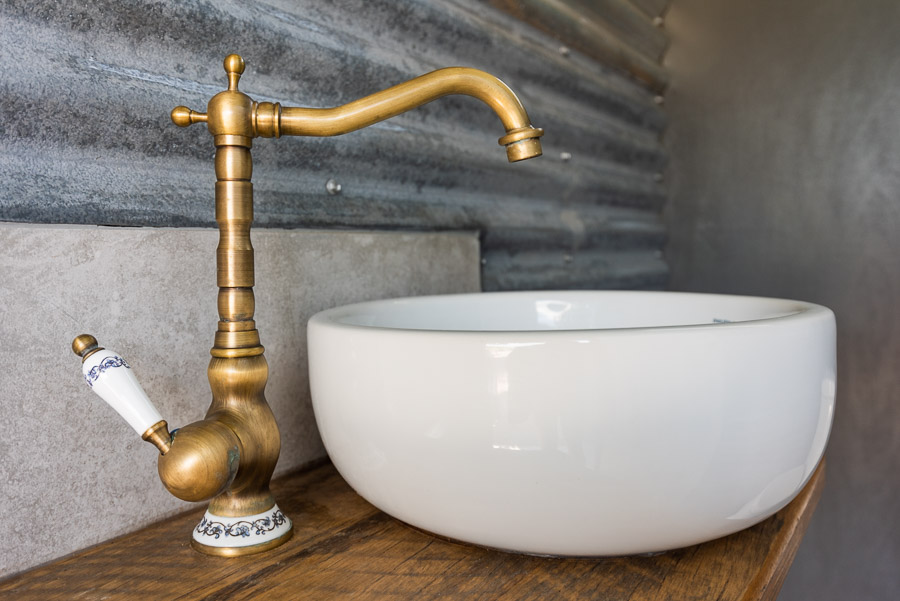 The Tent House - Gulaga: Shared amenities block basin (in toilet).