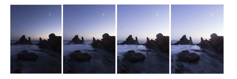 The four photos used to create my final photo. From left to right; First photo used to regain detail in the sky. Second photo is the base. Third photo used for the currents in the water. Fourth photo used to get detail in the rocks and other dark parts.