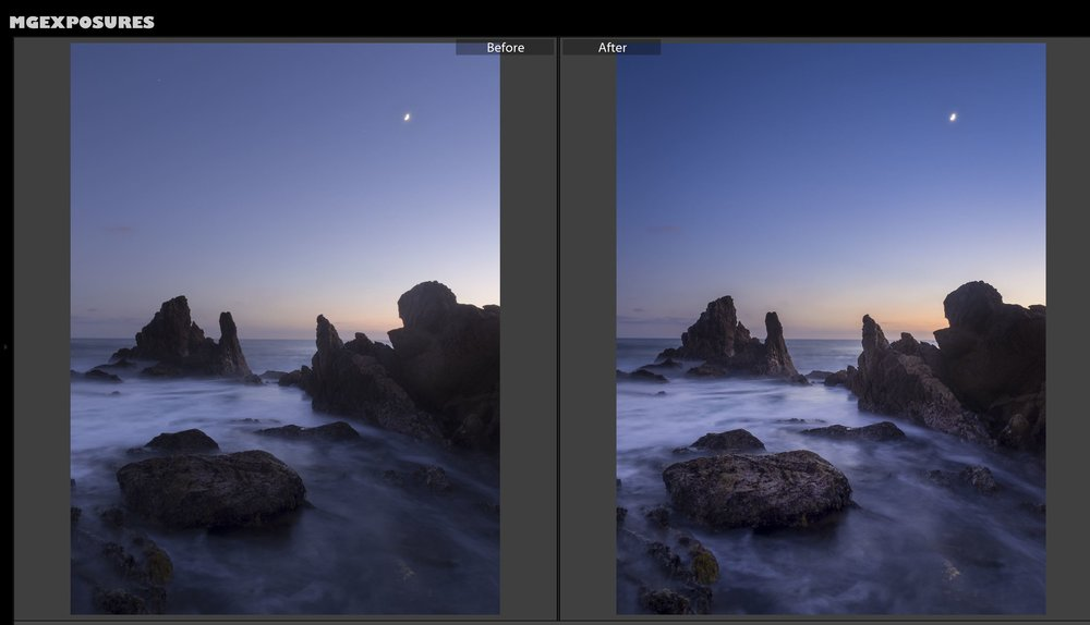 Before & After the Lightroom edits made.