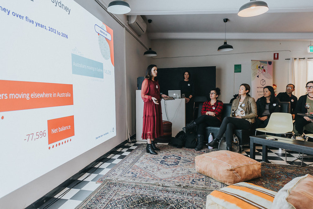 Research Manager Brooke Boyce presenting at Data after Dark: Vivid Sydney