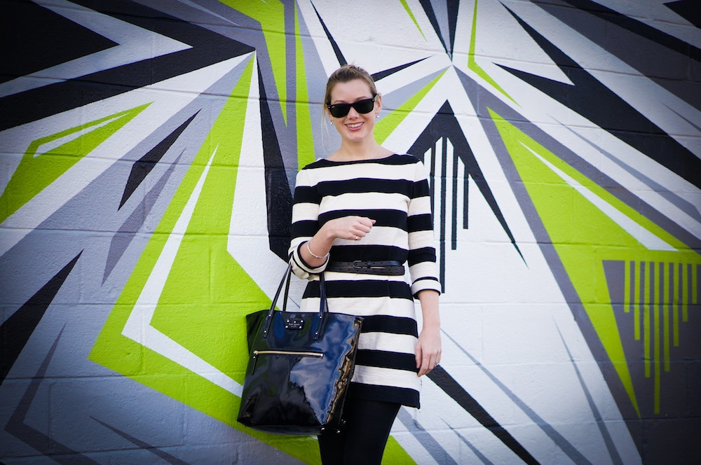 Shazam! Dress: J.Crew, glasses, Ray-Ban, bag, Kate Spade.