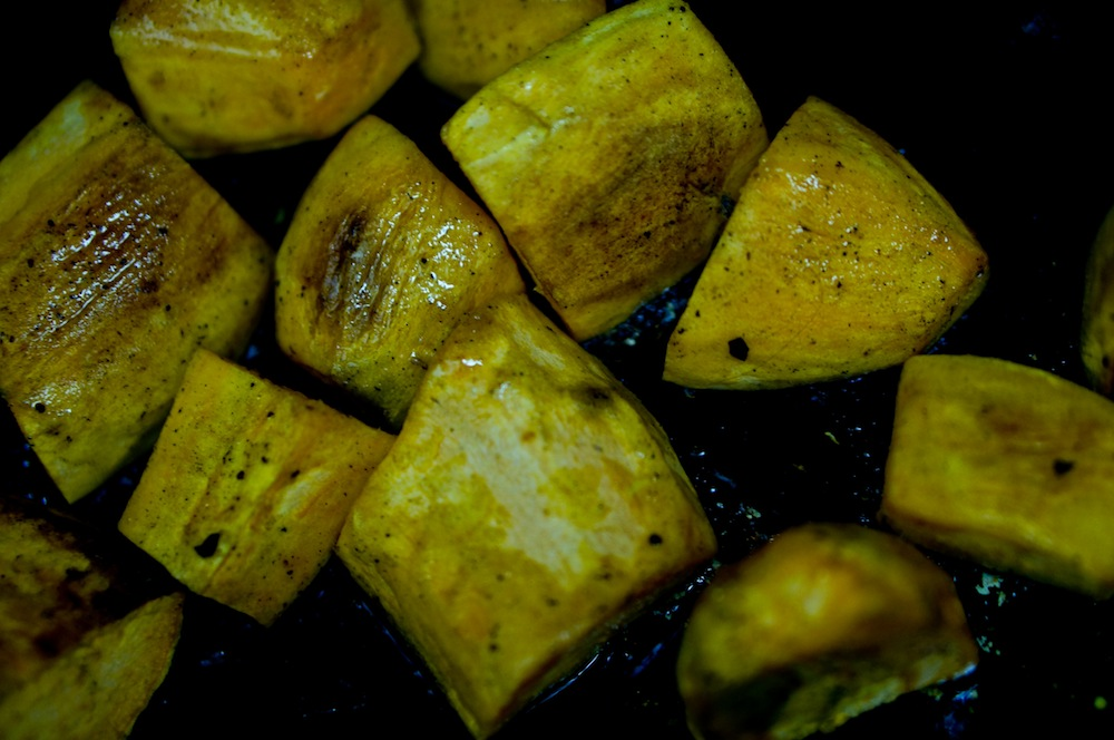 …or the sweet potatoes, for that matter. It DOES matter if they're green. These aren't – they're just under an awful fluorescent light.