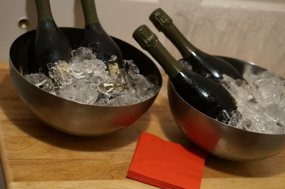 Prosecco on ice in fruit bowls - because we are innovative Kiwis. (And also we don't own any ice buckets).