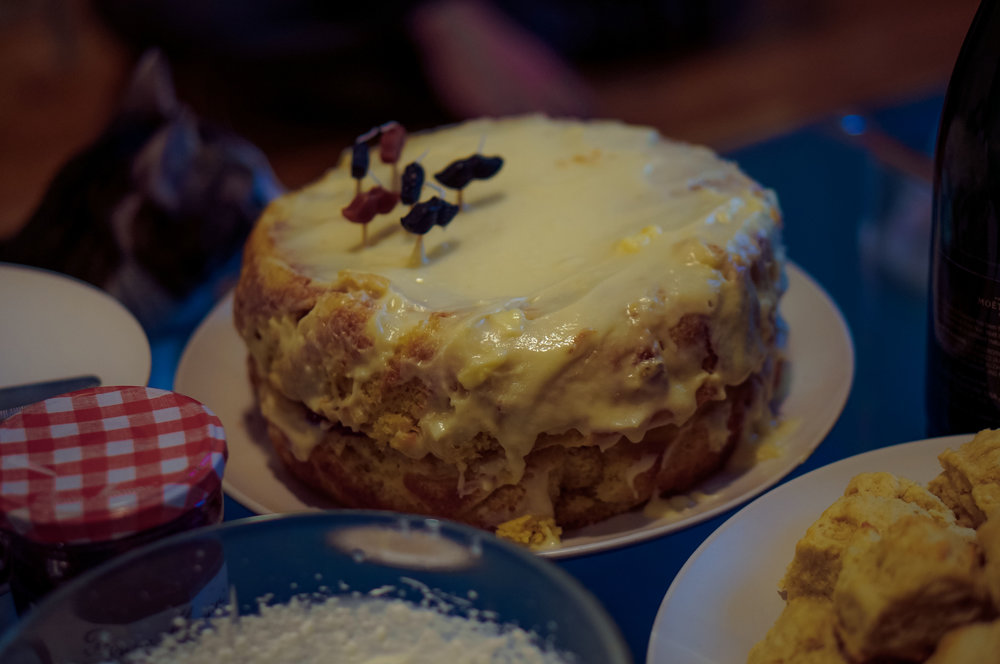 A manly cake (a manly, crumbly cake).