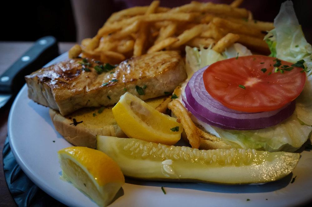 H1's swordfish burger.