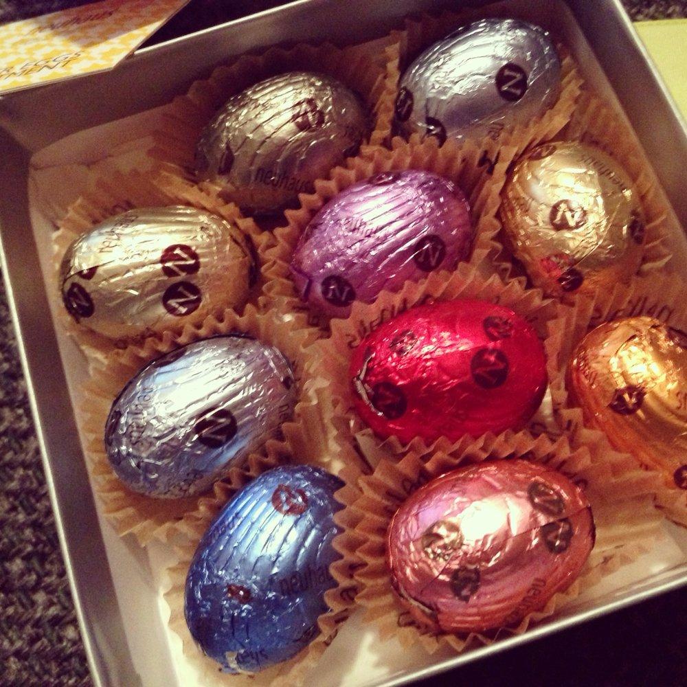 Fancy dark chocolate Easter eggs.