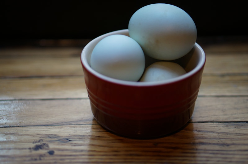 Beautiful pale blue-green eggs - I almost want to stare at them more than eat them.