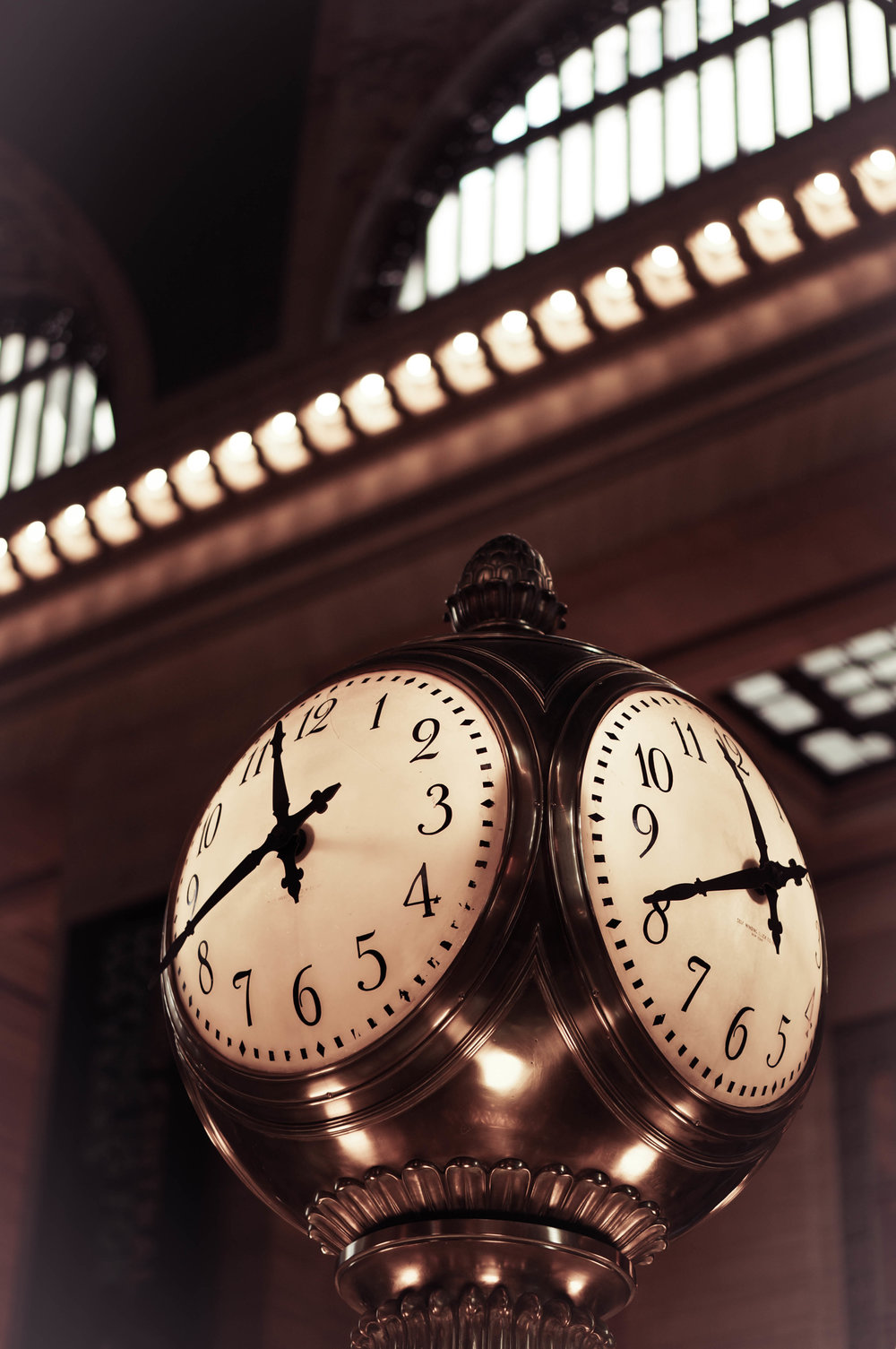 The clock in the centre of the station.