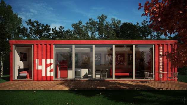 Shipping Container house (a rendered image of one, anyway). Image: CGArchitect
