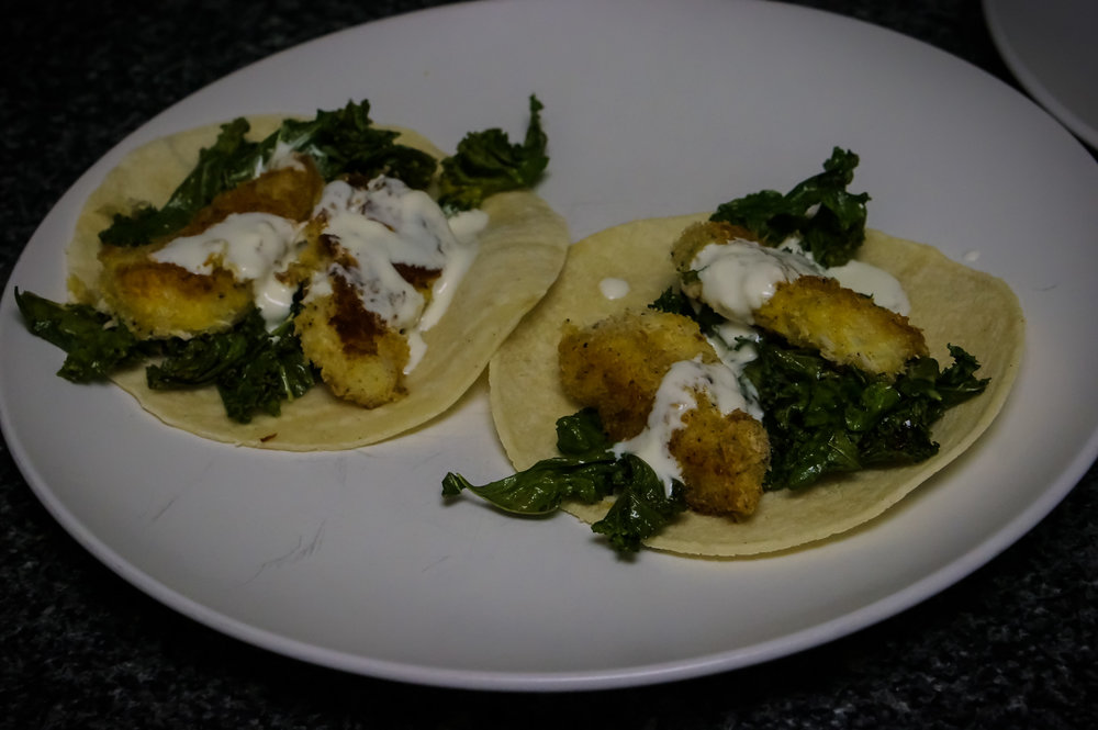 Asian-inspired panko fish tacos.