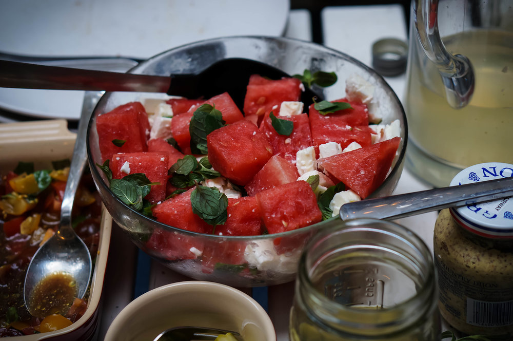 Feta, watermelon, and mint salad