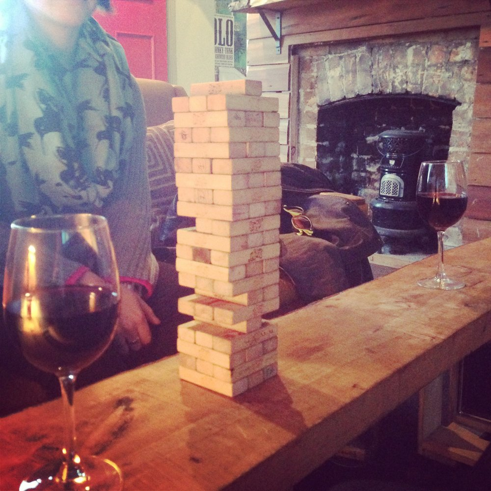 Sunday afternoon drinks and Jenga.