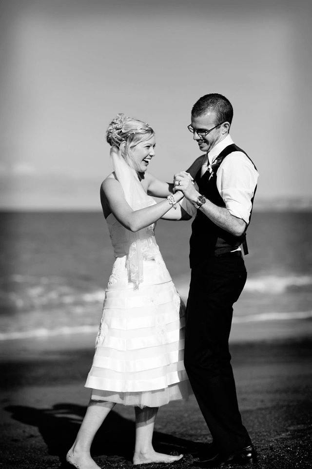 Practising on the beach before the first dance.
