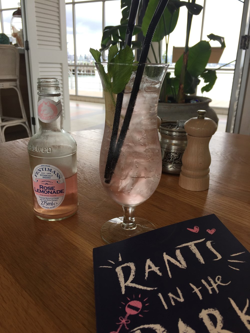 Rose lemonade and my new book at Devon on the Wharf.