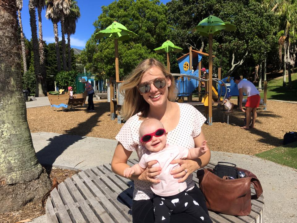 Matchy matchy with Amelie, right down to pink sunglasses.