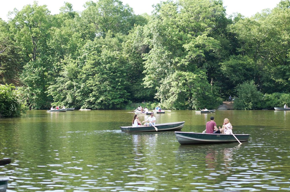 Boaters on the lake in Central Park.