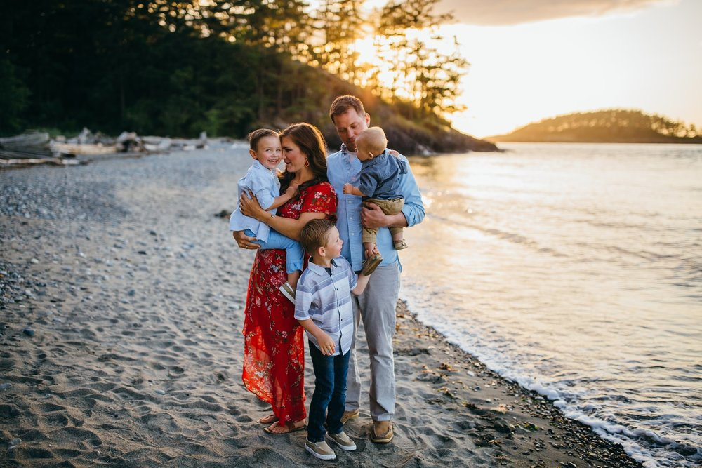 Family plays on beach | Whidbey Island Family Photographer