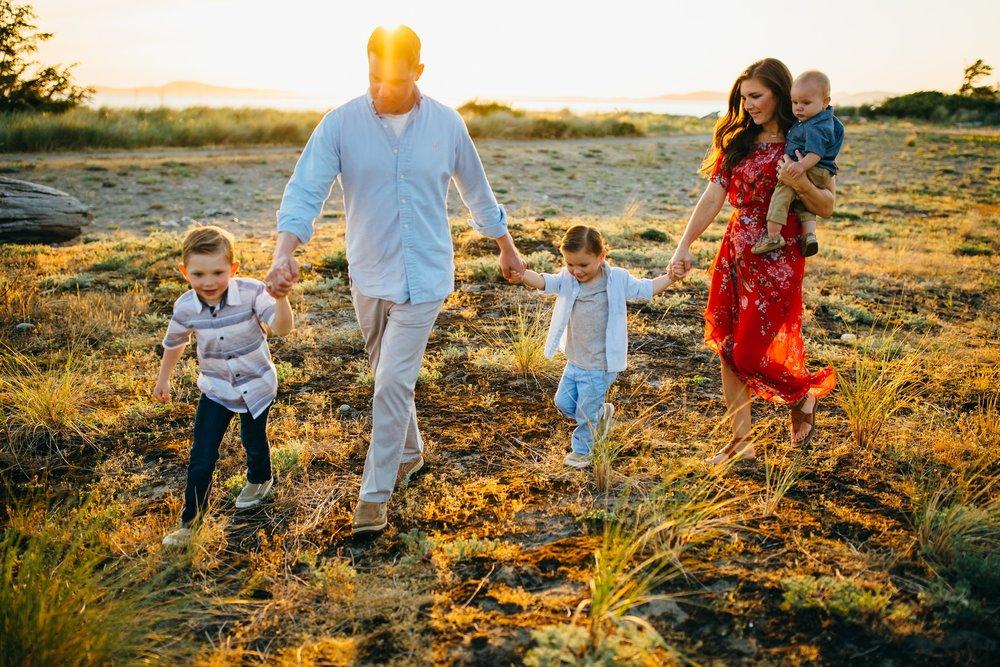 Family at sunset on Washington beach | Whidbey Island Family Photographer