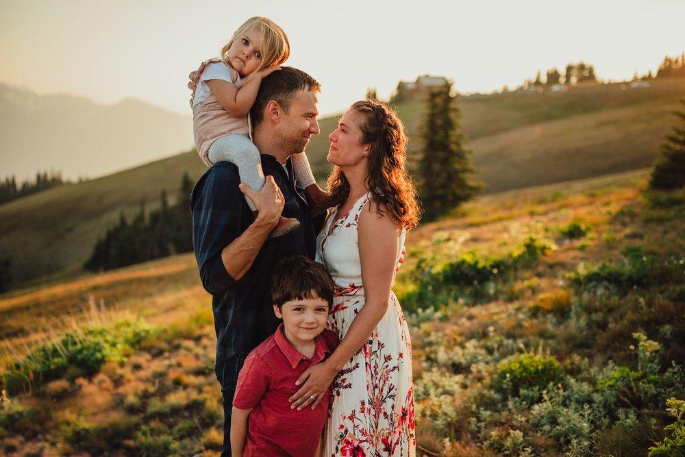 family photo at hurricane ridge at sunset