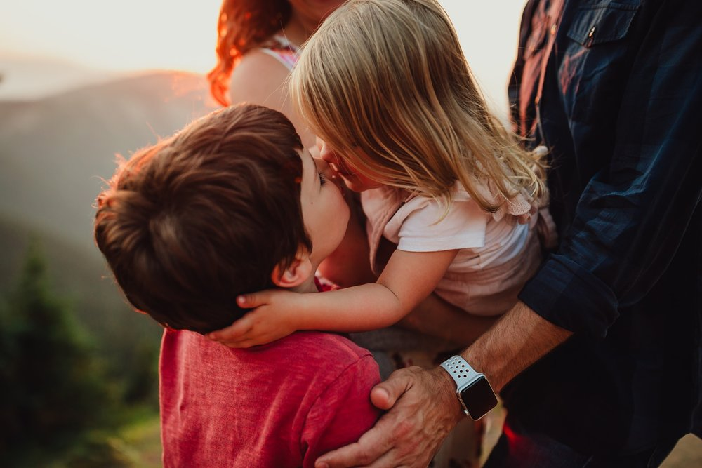 sister kisses brother on cheek during family sunset session