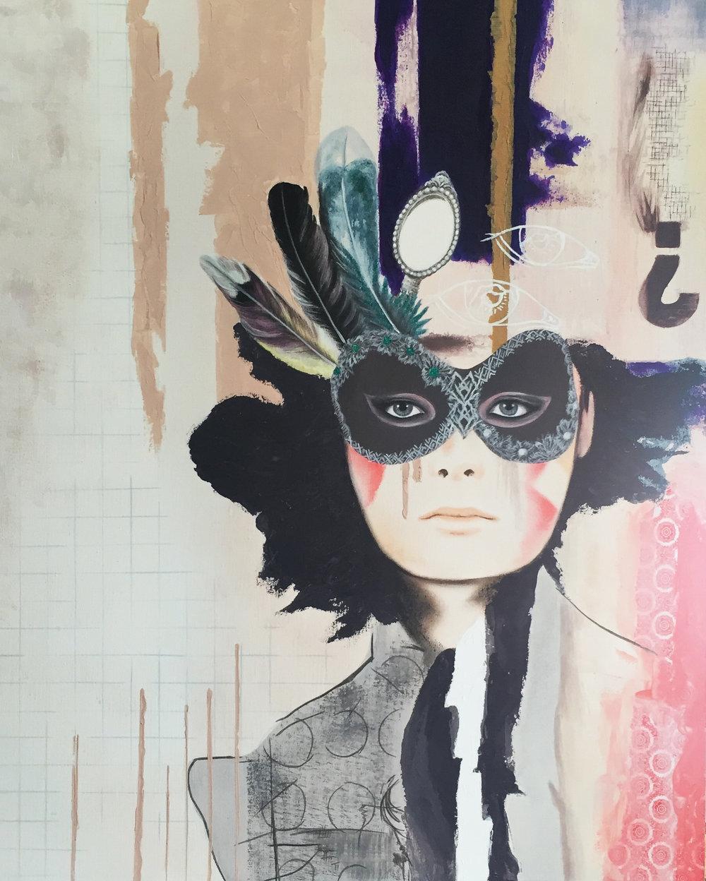 Behind The Mask 80cm x 100cm - Irene Hoff