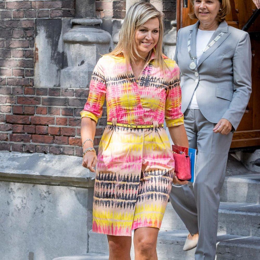 Queen Maxima of The Netherlands Wearing An Ikat Dress, 2017    Popsugar