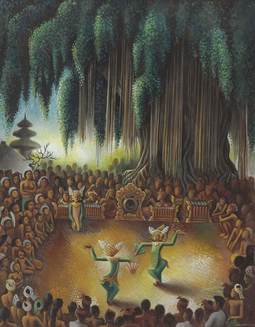 Miguel Covarrubias'  Legong Performance Under Banyan Tree |  Chrities.com