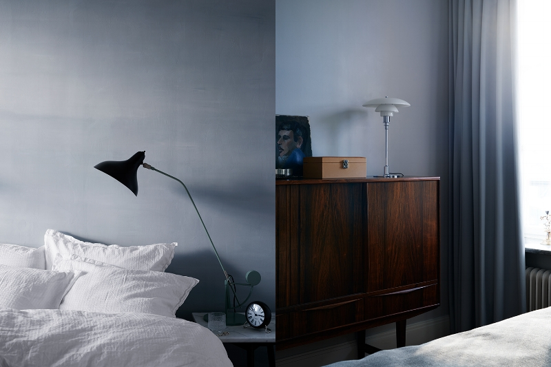 Love the mood in the bedroom with the vintage rosewood highboard.