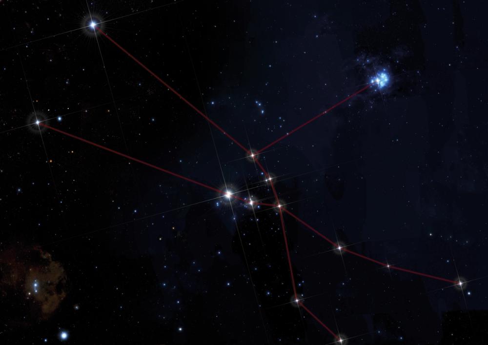 Costellazione del Toro / Constellation of Taurus    La stella più brillante al centro è Aldebaran. Intorno, le Iadi; verso destra in alto, il gruppo azzurro delle Pleiadi   The brightest star in the center of the image is Aldebaran, surrounded by the Hyades; on the right, the brilliant blue star cluster of the Pleiades   Credits: Baldas1950/Shutterstock.com, Leda_d/Shutterstock.com