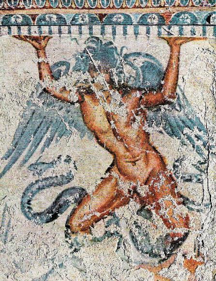 Tifone / Typhon   Aresco etrusco dalla Tomba del Tifone, II-I secolo a.C. ca . Etruscan fresco from Typhon's Tomb, 2nd-1st century B.C.  Necropoli di Monterozzi, Tarquinia
