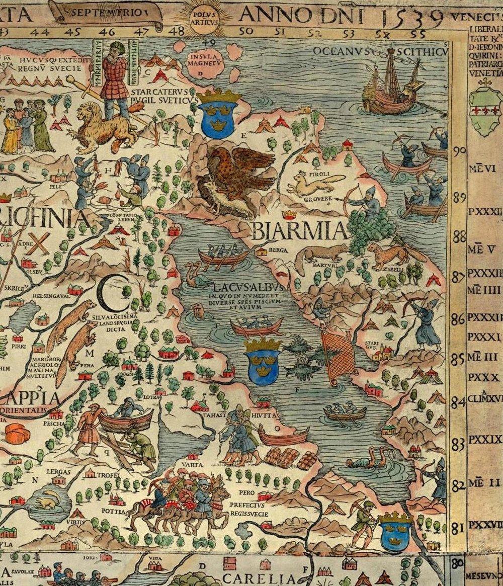 """Altair, """"l'Aquila mentre si leva"""", come indicatore del Nord    Da/  From : Olaus Magnus,  Carta Marina , Venezia 1539, part./detail  xilografia colorata a mano / hand-coloured woodcut    Venezia, Museo Storico Navale"""