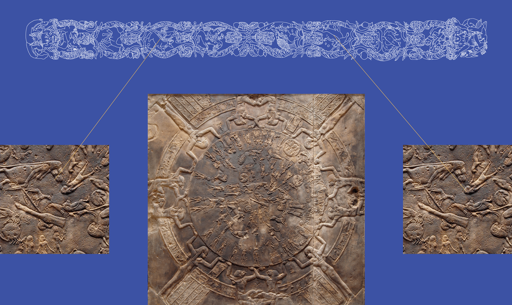 Canide con uccello, e coppia di animali dorso a dorso, fra le costellazioni del Polo Nord Celeste  /   Canine and bird, and two animals placed back to back, among the constellations of the North Celestial Pole     Zodiaco di Dendera /  Dendera Zodiac  Rilievo egizio, II secolo a.C., particolare /  Egyptian relief, 2nd century B.C., detail   Parigi, Louvre Credits: Photo © RMN-Grand Palais (Musée du Louvre) / Hervé Lewandowski