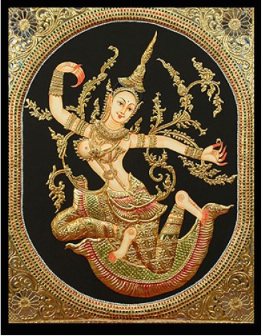 La dea Sita danzante/ The goddess Sita dancing    Immagine devozionale popolare nello stile Tanjore (India meridionale)/ Traditional image in Tanjore style (Southern India)   insieme e particolare/ whole and detail