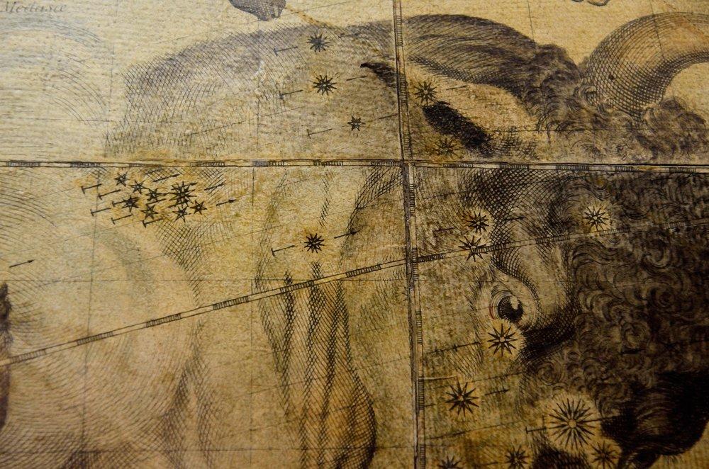 Le Pleiadi sulla spalla di Taurus/   The Pleiades on the shoulder of Taurus    Francesco Coronelli, Globo celeste/ Celestial globe , 1693 Esemplare del 1803, ristampa dai rami originali/ Edition 1803, engraved from the original plates   Venezxia, Museo Storico Navale, Inv. N. 5935 Credits Chiara Enzo and Marta Naturale, 2016