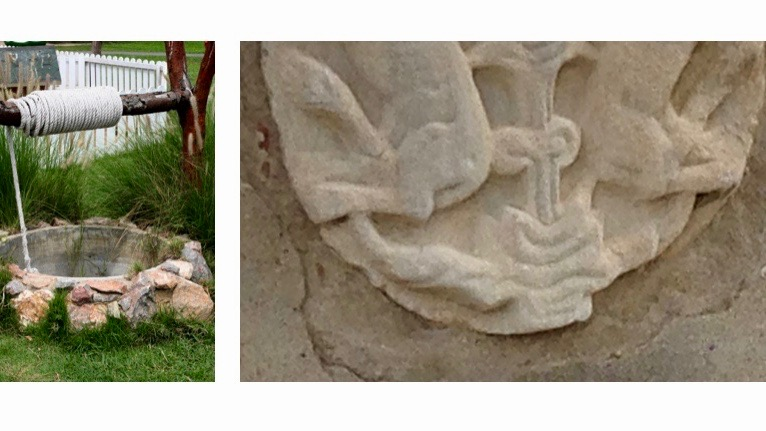 The tails of the griffins and the rope of the well.  Photo on the left: THANEESA INTHARAWICHAI via Shutterstock.com