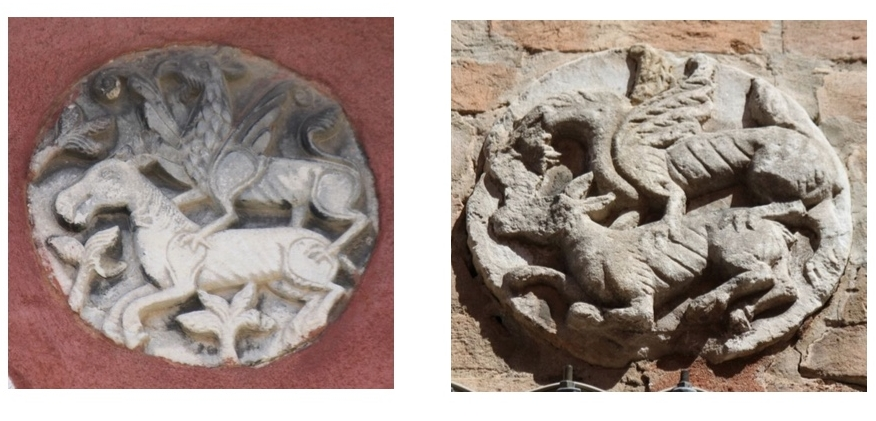Griffin attacking a horse. Venetian patere, 12th-13th century.  Left:  Venice, Castello, Fondamenta S.Ana  Photo: Chiara Enzo, 2016  Right: Venice, Castello, Seco Marina (the heads of the two animals slightly damaged).  Photo: Gloria Vallese, 2017