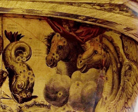 Pegasus, Equuleus, and Delphinus. Detail (capsized) from  Francesco Coronelli,  Celestial globe . Edition Paris 1803, from the original plates of 1693.  Venice, Museo Storico Navale, Inv. N° 5935.   Gift of Licio Salvagno, Former Collection Beistegui  Photo: Chiara Enzo and Marta Naturale, 2016
