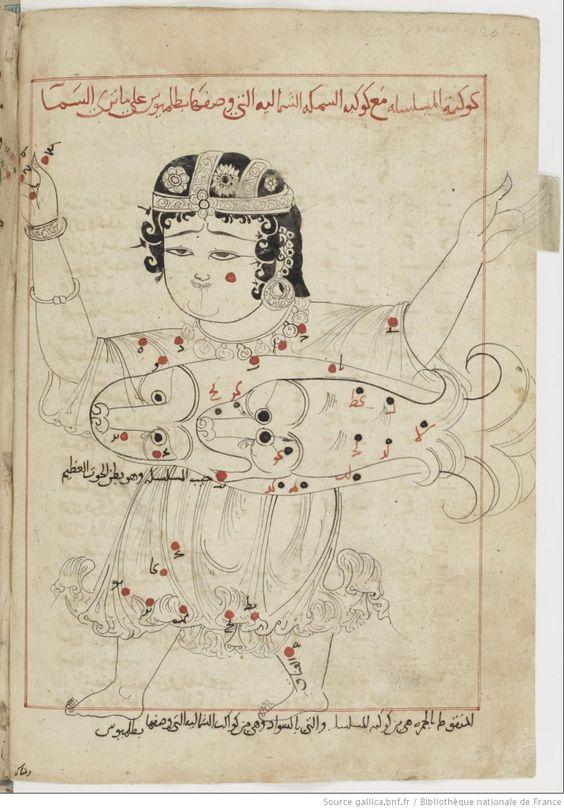 """From ʿAbd al-Raḥmān ibn ʿUmar al-Ṣūfī,  Kitāb ṣuwar al-kawākib al-ṯābita (""""Book of the Fixed Stars""""),    1430-1440.  Paris, BNF,  MS Arabe 2489, fol.69v"""