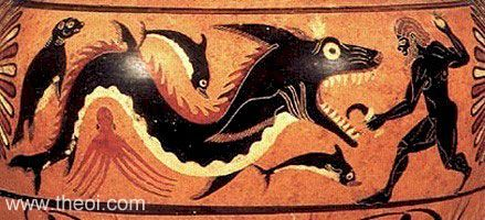 Perseus, Ketos the sea monster, and other marine creatures: dolphins, an octopus, and a seal.  Apulian red-figure amphora, 4th B.C.  Malibu, The J. Paul Getty Museum