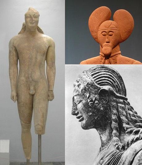 Beispiele zeitgenössicher Kunst: Kouros von Samos (Foto: Adam Carr), Keltenfürst von Glauberg (Foto: Heinrich Stürzl), Apollo von Veii (Foto: Giorces), alle Wikimedia Commons.