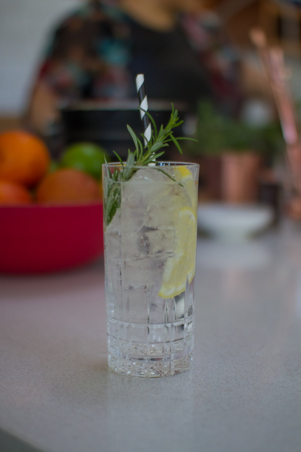 Animus Classic Dry Gin and StrangeLove No. 8 tonic, garnished with a slice of lemon and a sprig of rosemary Photo: Steve Edwards @steve_sketch